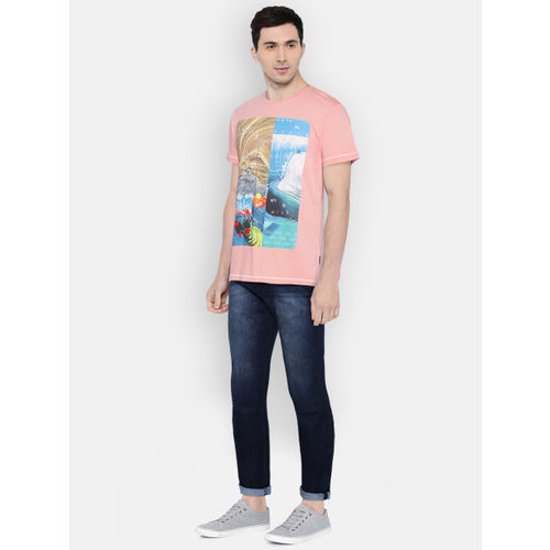 Lee Men Peach-Coloured Printed Slim Fit Round Neck T-shirt