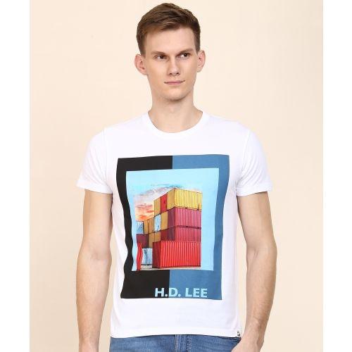 Lee Printed Men's Round Neck Multicolor T-Shirt