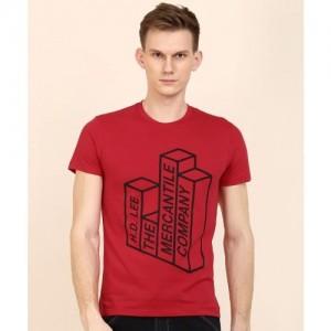 Lee Printed Men's Round Neck Red T-Shirt