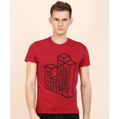 Lee Printed Men's Round Neck Red T-Shirt