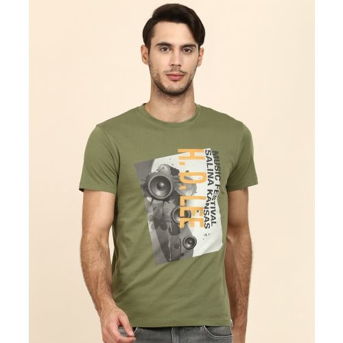 Lee Solid Men's Round Neck Green T-Shirt