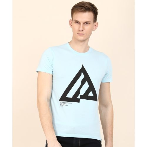 Lee Printed Men's Round Neck Light Blue T-Shirt