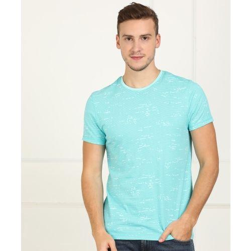 Lee Printed Men Round Neck Light Blue T-Shirt