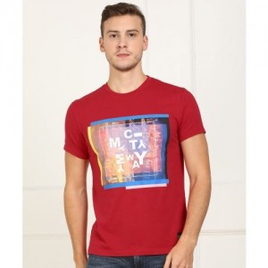 Lee Printed Men Round Neck Red T-Shirt