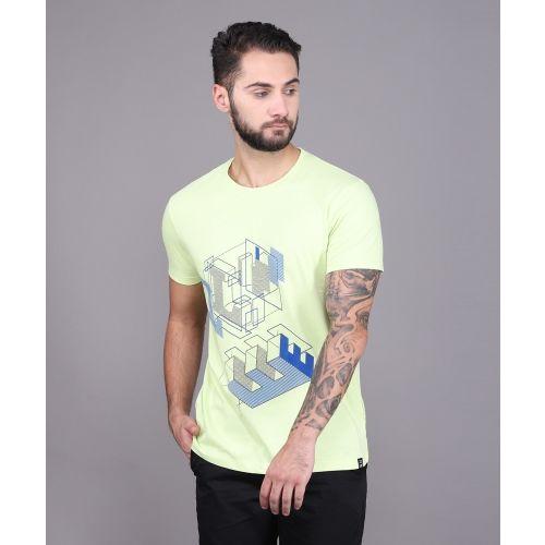 Lee Printed Men's Round Neck Yellow T-Shirt