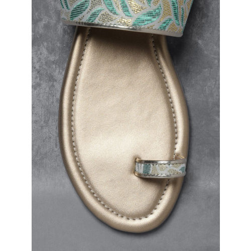 Anouk Green & Gold-Toned Woven Design One Toe Flats
