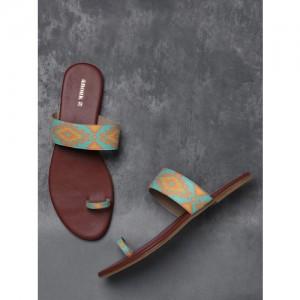 Anouk Green Printed One Toe Flats