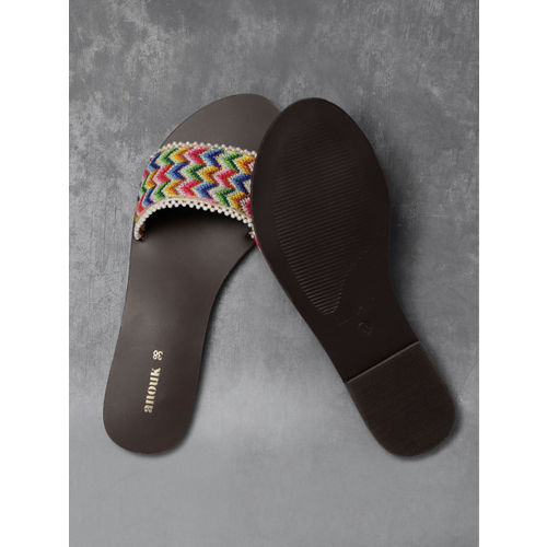 Anouk Women Multicoloured Woven Design Open Toe Flats