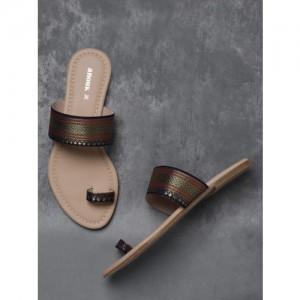 Anouk Navy Blue Woven Design One Toe Flats