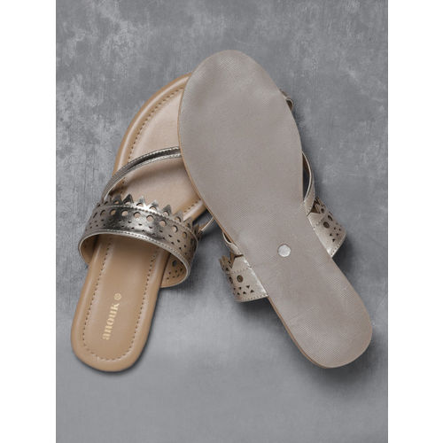 Anouk Women Muted Gold-Toned One Toe Flats with Laser Cuts