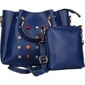 johan&keith PU Blue Combo Shoulder Bag
