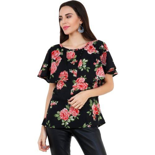 Emeros Party Half Sleeve Floral Print, Printed Women's Black, Red Top