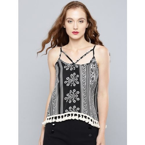 Veni Vidi Vici Casual Sleeveless, Noodle strap, Shoulder Strap Printed Women's Multicolor, Black, White, Beige Top