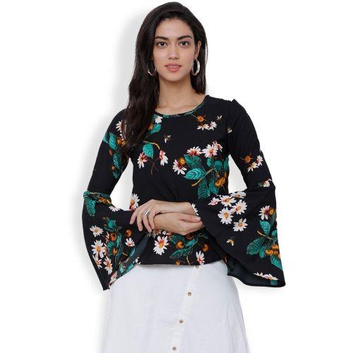 MUMBAI SLANG Casual Bell Sleeve Floral Print Women's Black Top
