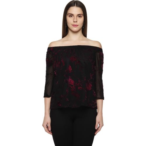 Annabelle by Pantaloons Casual 3/4th Sleeve Floral Print Women's Black Top
