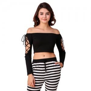 Texco Black Off Shoulder Crop Top for Women