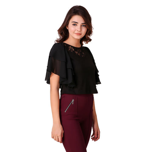 fc62d1e90bf53 Buy Texco Black Butterfly Ruffle Sleeves Lace Crop Top for Women ...