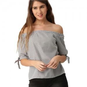 Dressberry Casual Regular Sleeve Striped Women's Black Top