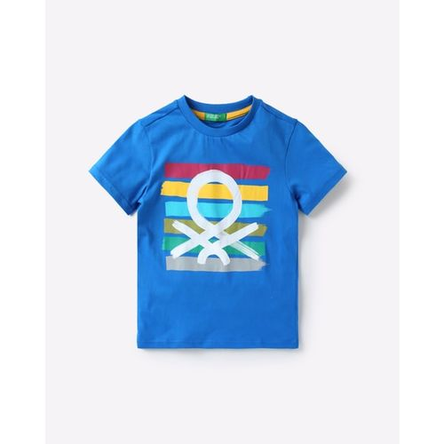 United Colors of Benetton Boys Blue Printed Round Neck T-shirt