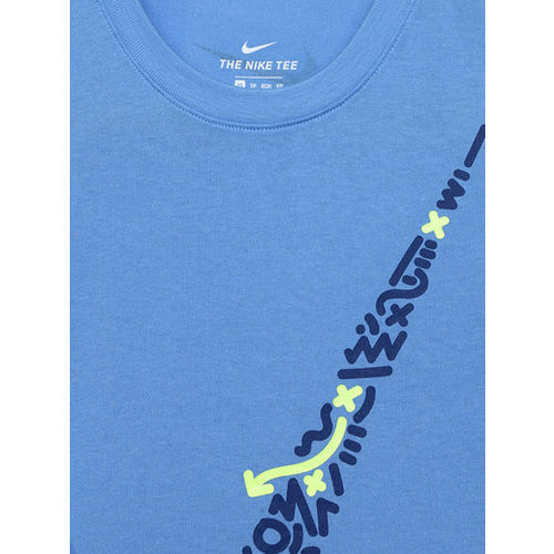 Nike Boys Blue Printed DFC LINES SWSH Round Neck T-shirt