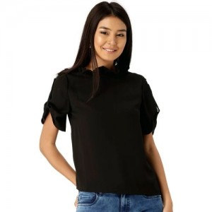 Dressberry Casual Roll-up Sleeve Solid Women's Black Top