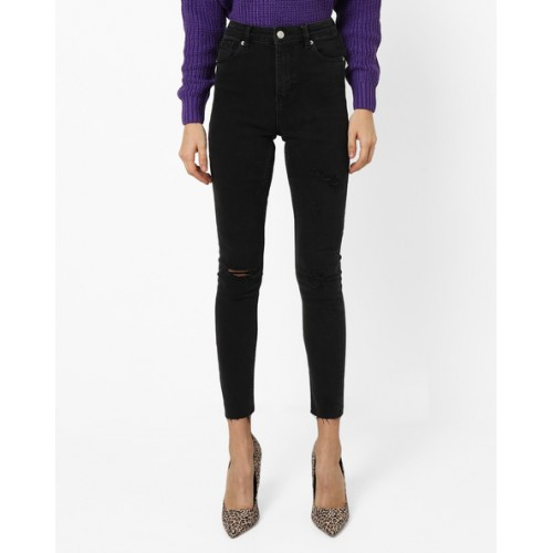 TALLY WEiJL Distressed Mid-Rise Skinny Jeans