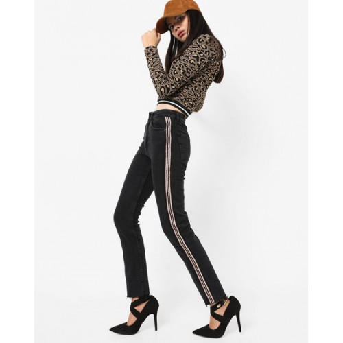 TALLY WEiJL Slim Fit Mid-Rise Jeans with Frayed Hems