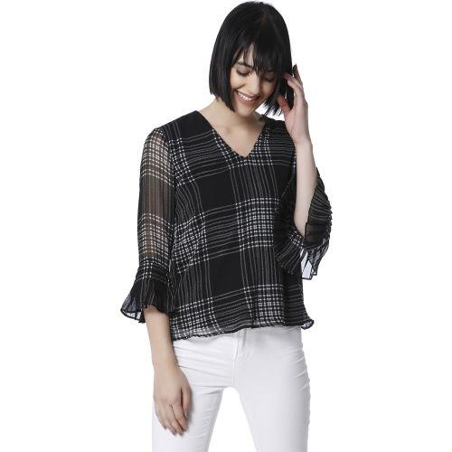 Vero Moda Casual 3/4th Sleeve Checkered Women's Black Top