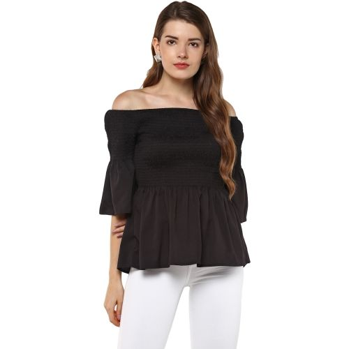 D'amor Casual 3/4th Sleeve Solid Women's Black Top