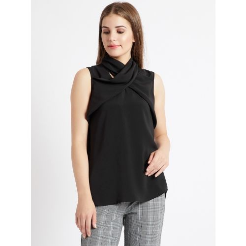 Cover Story Casual Sleeveless Solid Women's Black Top