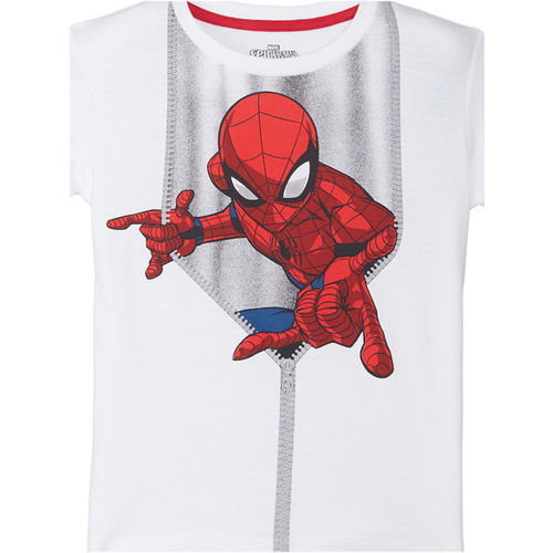 Kids Ville Boys White Printed Round Neck T-shirt