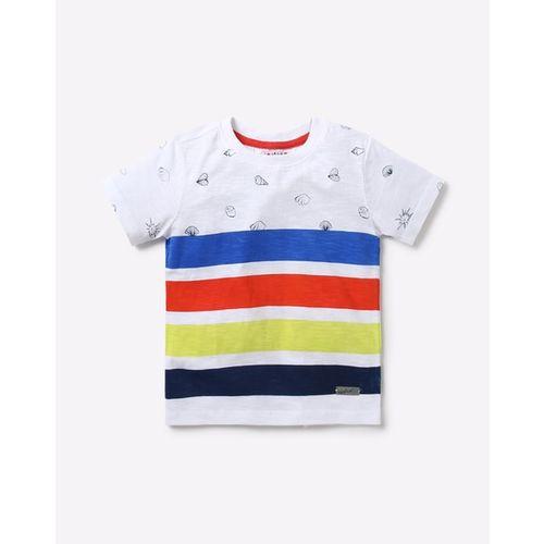 Nauti Nati Boys White & Blue Striped Round Neck T-shirt