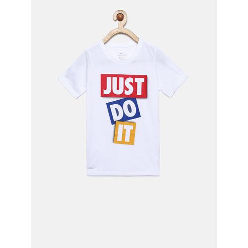 Nike Boys White Printed DFC JDI TAPE Round Neck T-shirt