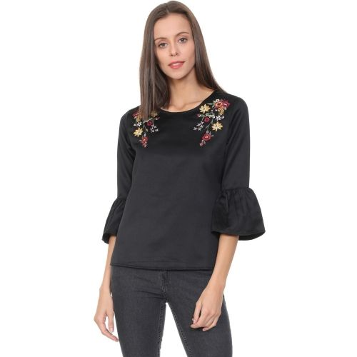 People Casual 3/4th Sleeve Embroidered Women's Black Top
