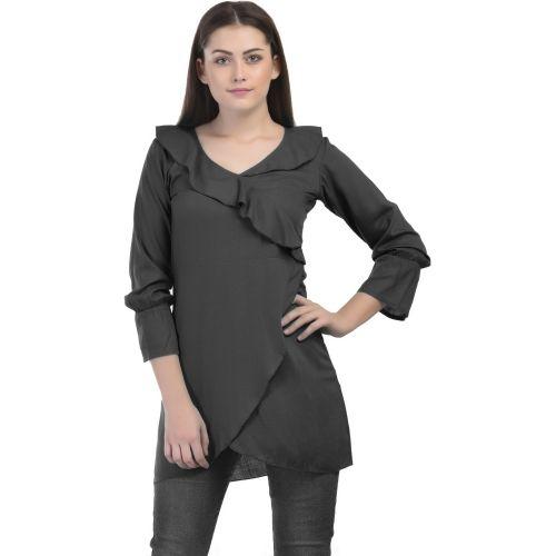 fd37105b5fd17 Buy VAANYA Casual Bell Sleeve Solid Women s Black Top online ...