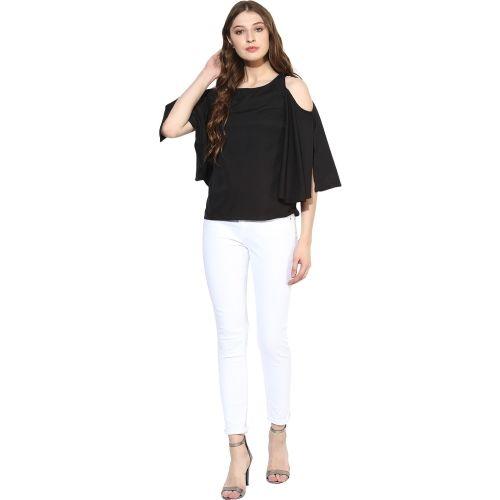 f66b523c6c5 Buy One Femme Party Cold Shoulder Solid Women's Black Top online ...