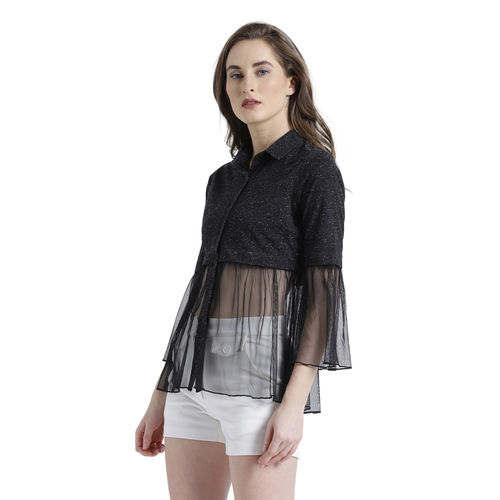 Texco Women Black Cotton jersey Spread Collar Gathered Solid Top