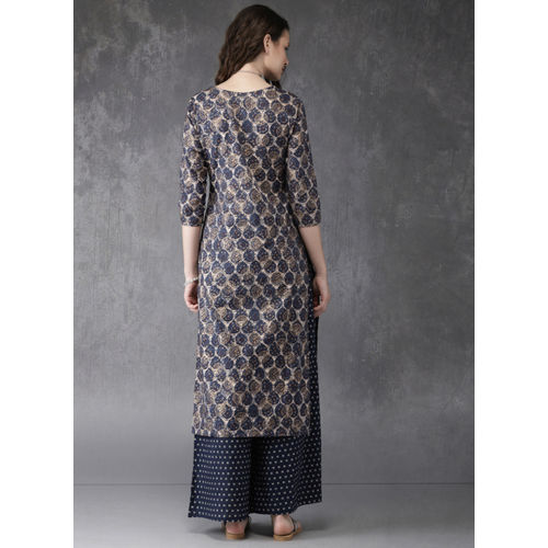 Anouk Navy Printed Kurta With Palazzos