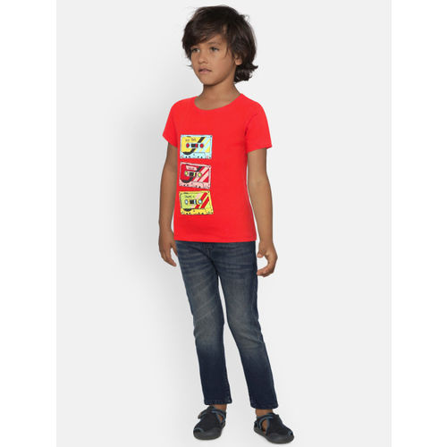 YK Boys Red Printed T-shirt