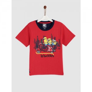 YK Boys Red Printed Round Neck T-shirt