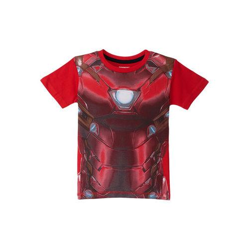 Kids Ville Avengers By Kidsville Boys Red Printed Iron Man Print T-shirt