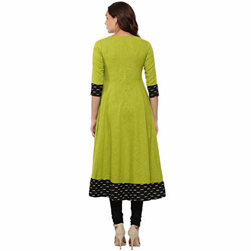 Yash Gallery Green Cotton Printed Anarkali kurta