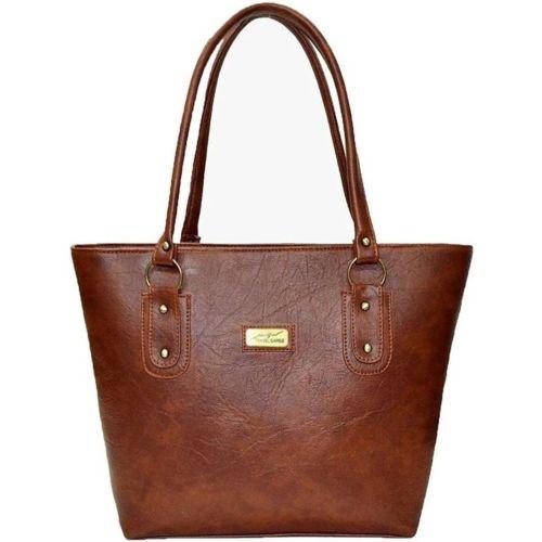 Avni's Brown Polyurethane Solid Shoulder Bag