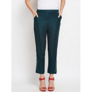 Oxolloxo Women Blue Solid Regular Fit Cropped Trousers