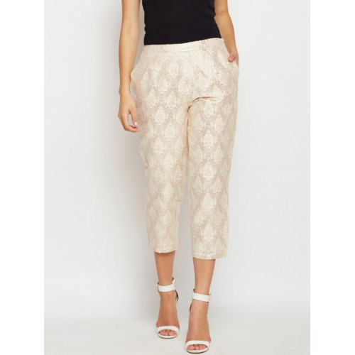 Oxolloxo Women Beige Jacquard Cropped Peg Trousers