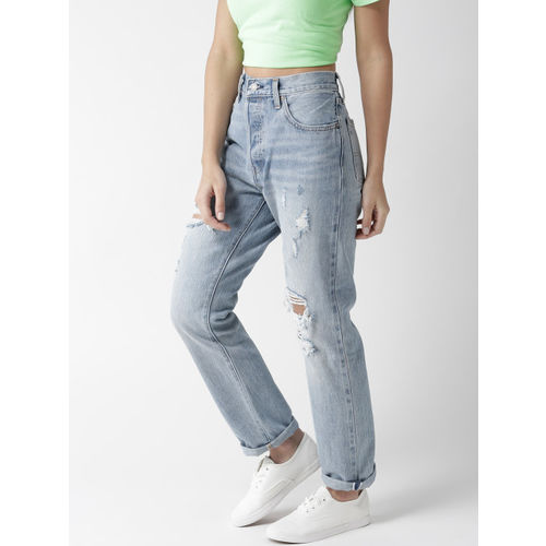 Levis Women Blue Straight Fit High-Rise Highly Distressed Jeans 501