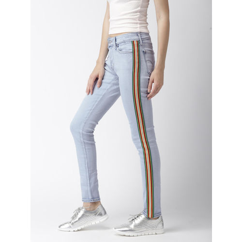 Levis Women Blue Skinny Fit Mid-Rise Clean Look Stretchable Jeans 711