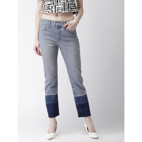 Levis Women Blue Straight Fit High-Rise Clean Look Stretchable Cropped Jeans 724