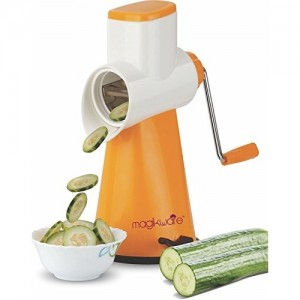 Magikware Orange Slicer, Rotary Drum Fruit Cutter Cheese Shredder With 3 Stainless Steel Rotary Blades