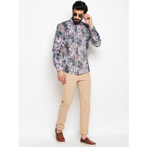Oxolloxo Men Black Regular Fit Ethnic Printed Casual Shirt